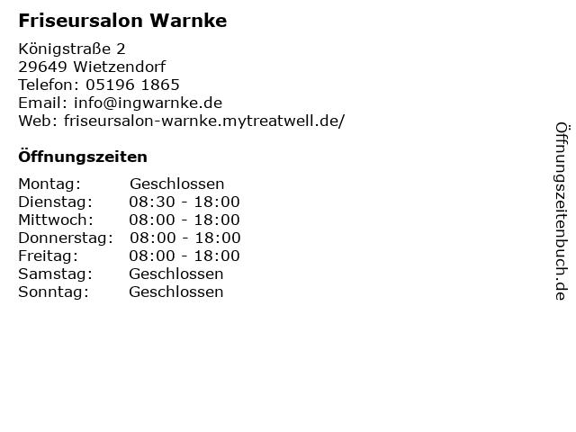 Friseursalon Warnke in Wietzendorf: Adresse und Öffnungszeiten