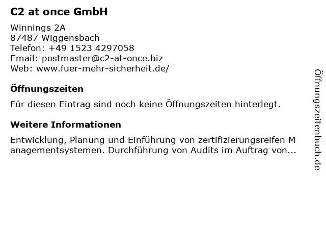 C2 at once GmbH in Wiggensbach: Adresse und Öffnungszeiten