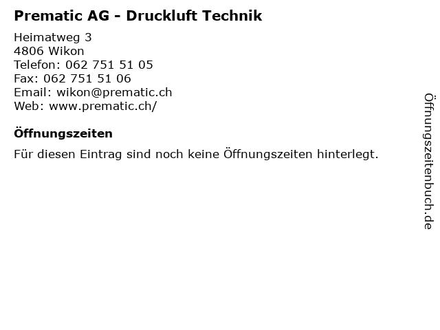 Prematic AG - Druckluft Technik in Wikon: Adresse und Öffnungszeiten