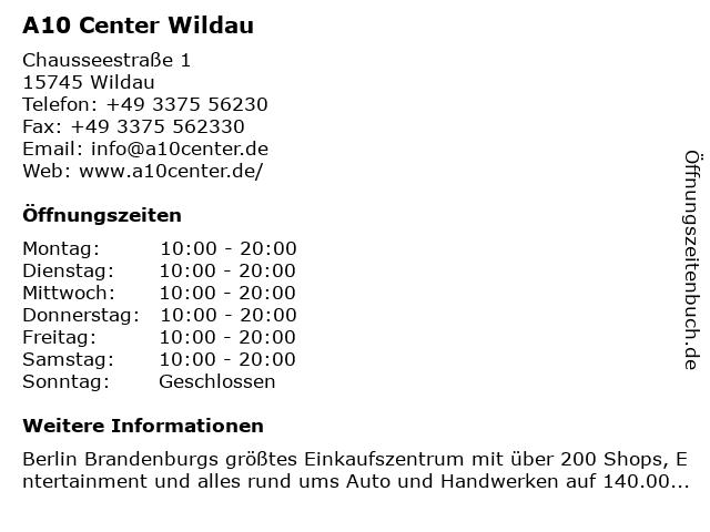 ᐅ öffnungszeiten A10 Center Wildau Chausseestraße 1 In Wildau