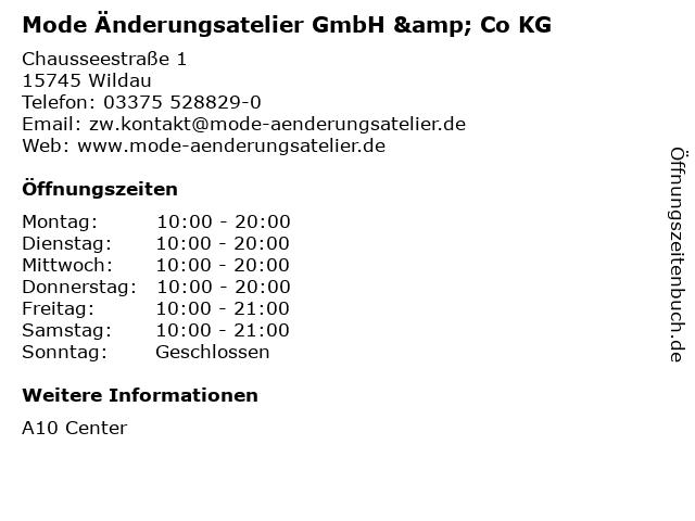 Mode Änderungsatelier GmbH & Co KG in Wildau: Adresse und Öffnungszeiten
