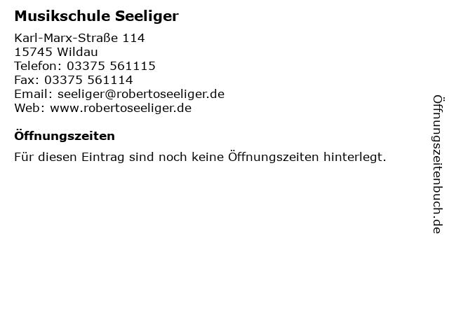 Musikschule Seeliger in Wildau: Adresse und Öffnungszeiten
