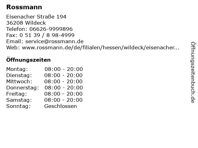 Rossmann in Wildeck: Adresse und Öffnungszeiten