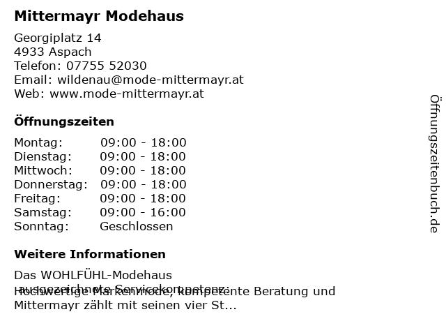 Mittermayr Modehaus in Wildenau: Adresse und Öffnungszeiten