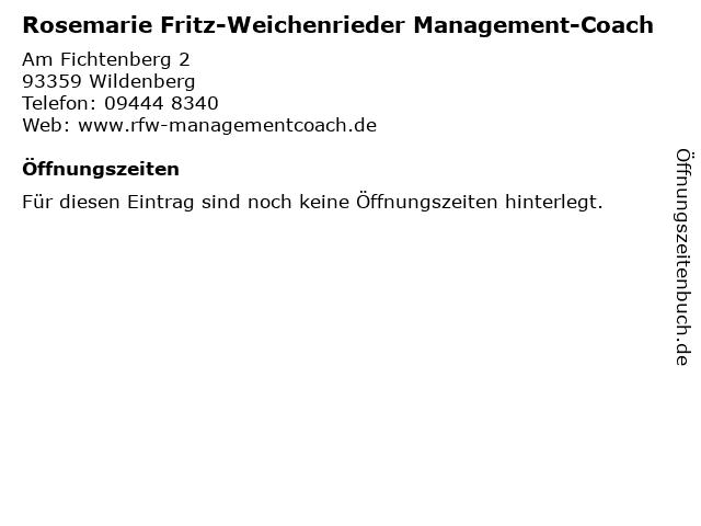 Rosemarie Fritz-Weichenrieder Management-Coach in Wildenberg: Adresse und Öffnungszeiten