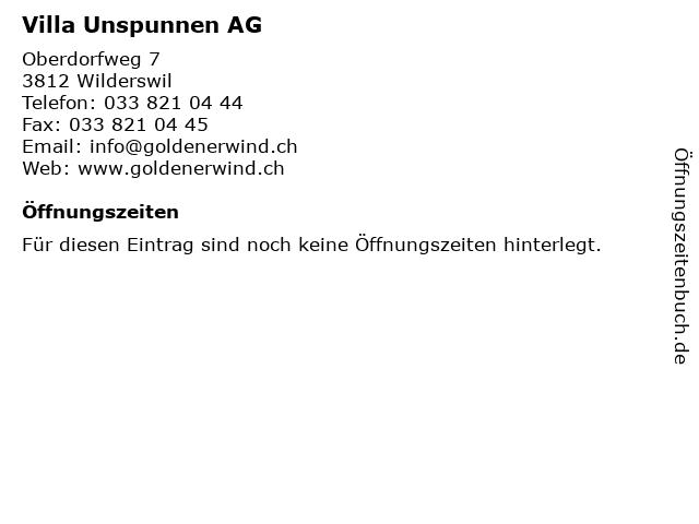 Villa Unspunnen AG in Wilderswil: Adresse und Öffnungszeiten