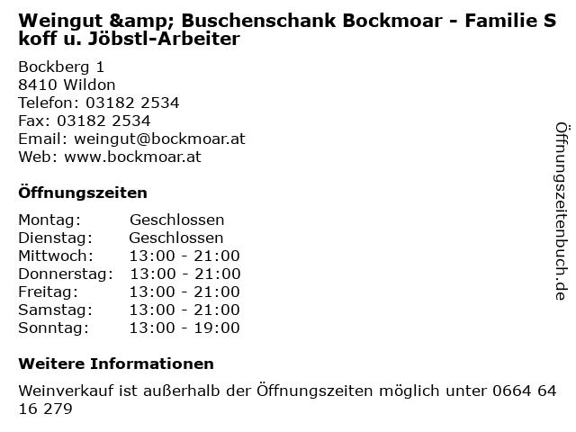 Weingut & Buschenschank Bockmoar - Familie Skoff u. Jöbstl-Arbeiter in Wildon: Adresse und Öffnungszeiten