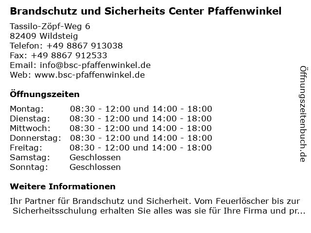 Brandschutz und Sicherheits Center Pfaffenwinkel in Wildsteig: Adresse und Öffnungszeiten