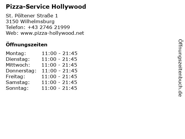 Pizza-Service Hollywood in Wilhelmsburg: Adresse und Öffnungszeiten