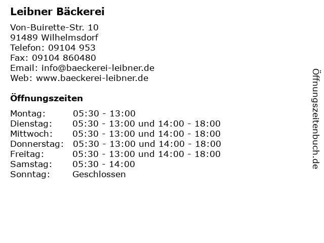 Leibner Bäckerei in Wilhelmsdorf: Adresse und Öffnungszeiten
