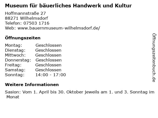 Museum für bäuerliches Handwerk und Kultur in Wilhelmsdorf: Adresse und Öffnungszeiten
