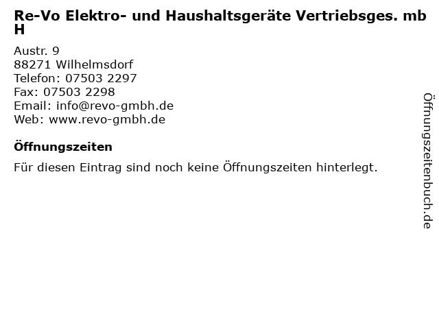 Re-Vo Elektro- und Haushaltsgeräte Vertriebsges. mbH in Wilhelmsdorf: Adresse und Öffnungszeiten