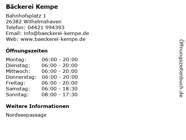 Bäckerei Kempe in Wilhelmshaven: Adresse und Öffnungszeiten