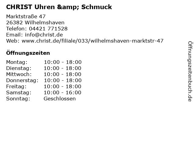 CHRIST Uhren & Schmuck in Wilhelmshaven: Adresse und Öffnungszeiten