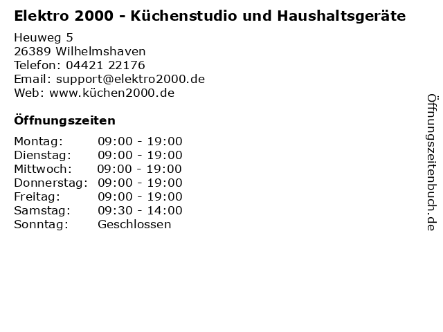 ᐅ Offnungszeiten Elektro 2000 Kuchenstudio Und Haushaltsgerate