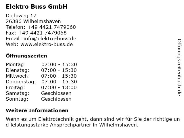 Elektro Buss GmbH in Wilhelmshaven: Adresse und Öffnungszeiten