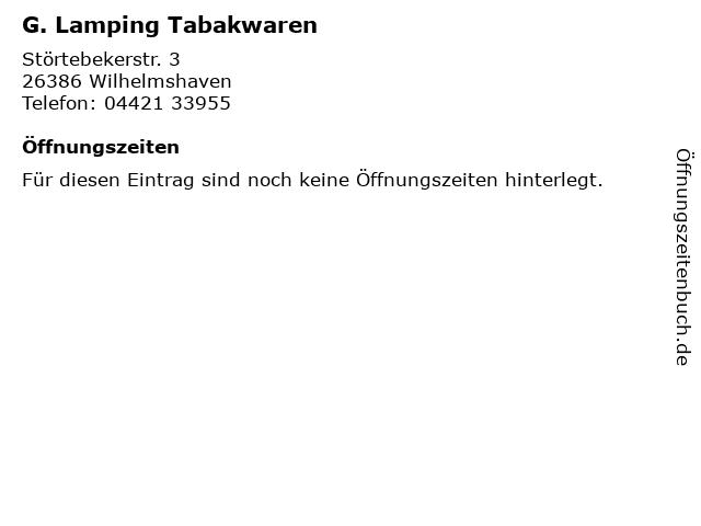 G. Lamping Tabakwaren in Wilhelmshaven: Adresse und Öffnungszeiten