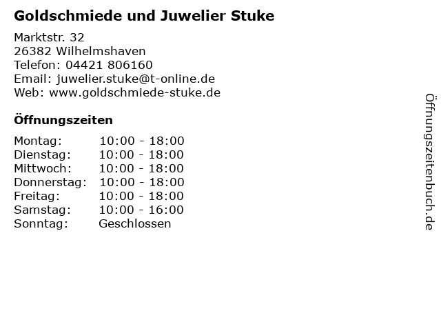 Clemens Stuke Juwelier in Wilhelmshaven: Adresse und Öffnungszeiten