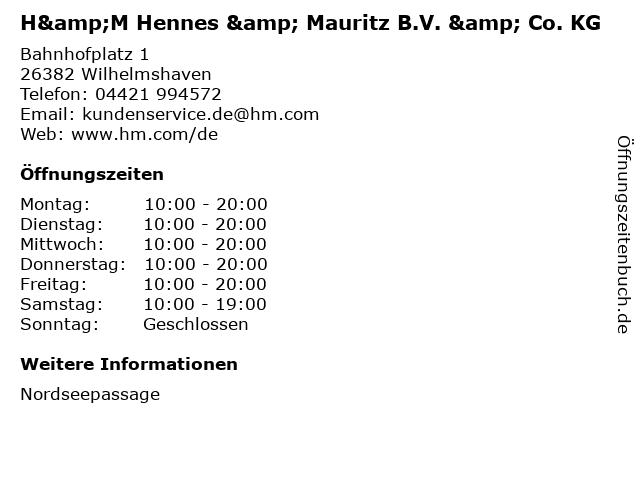 H&M Hennes & Mauritz B.V. & Co. KG in Wilhelmshaven: Adresse und Öffnungszeiten