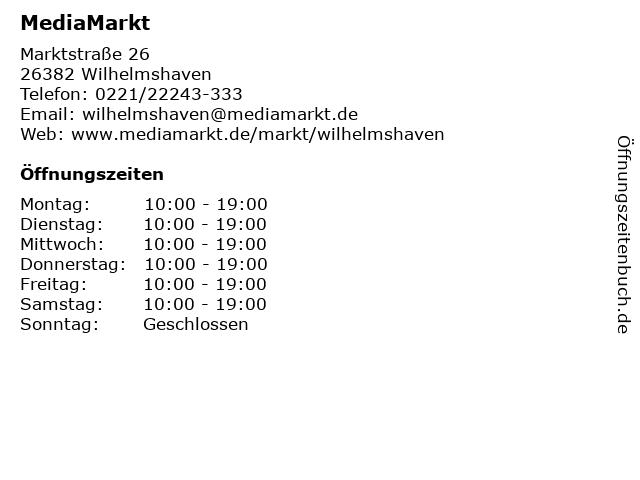 MediaMarkt in Wilhelmshaven: Adresse und Öffnungszeiten
