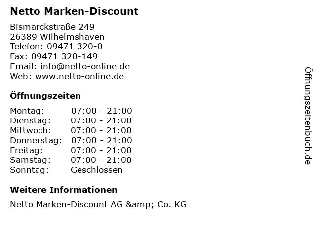 Netto Marken-Discount in Wilhelmshaven: Adresse und Öffnungszeiten
