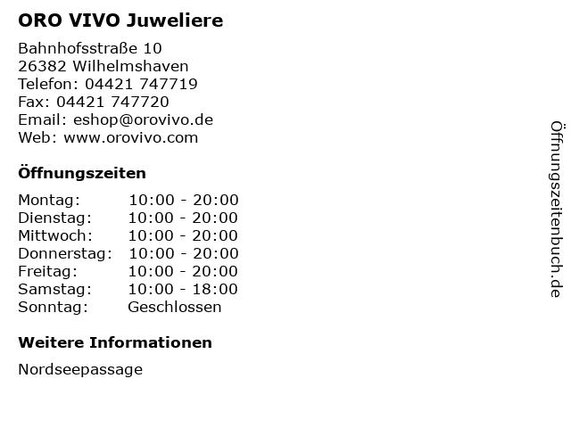 ORO VIVO Juweliere in Wilhelmshaven: Adresse und Öffnungszeiten
