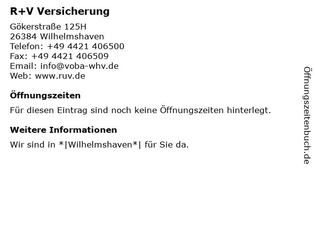 R+V Versicherung in Wilhelmshaven: Adresse und Öffnungszeiten