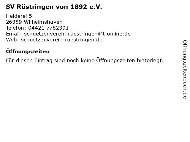 SV Rüstringen von 1892 e.V. in Wilhelmshaven: Adresse und Öffnungszeiten
