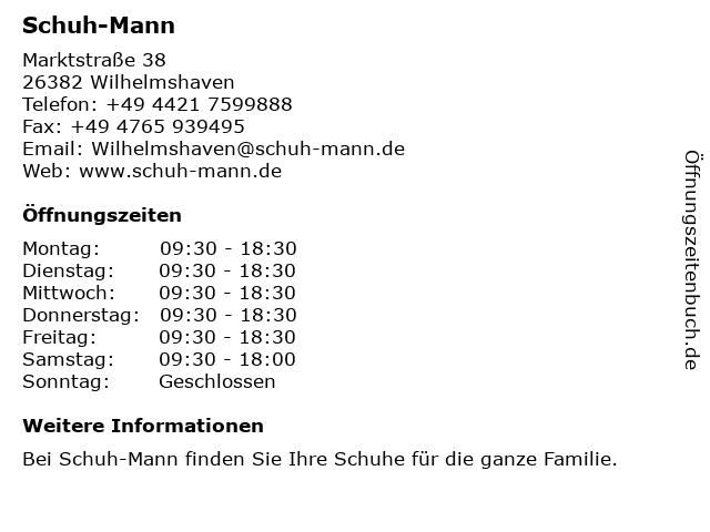Schuh-Mann in Wilhelmshaven: Adresse und Öffnungszeiten