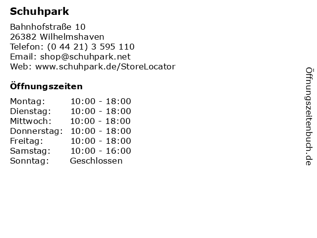 Schuhpark in Wilhelmshaven: Adresse und Öffnungszeiten