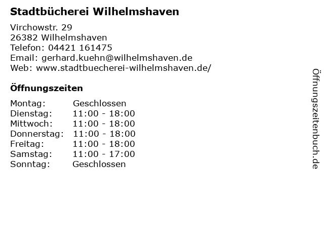 Stadtbücherei Wilhelmshaven in Wilhelmshaven: Adresse und Öffnungszeiten