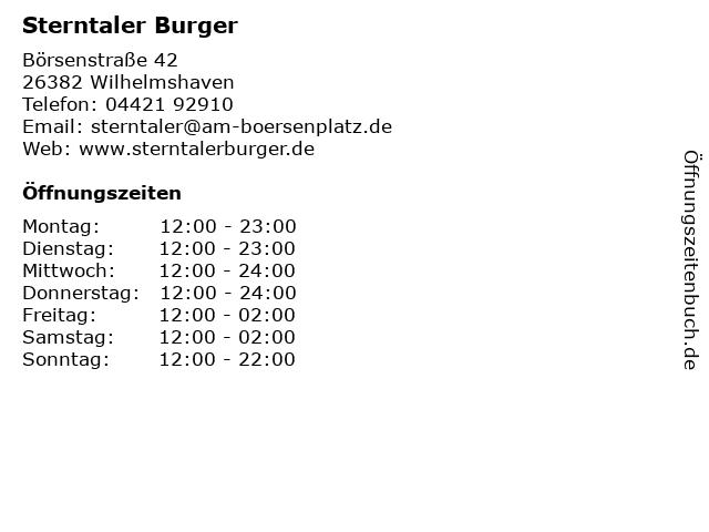 Sterntaler Burger in Wilhelmshaven: Adresse und Öffnungszeiten