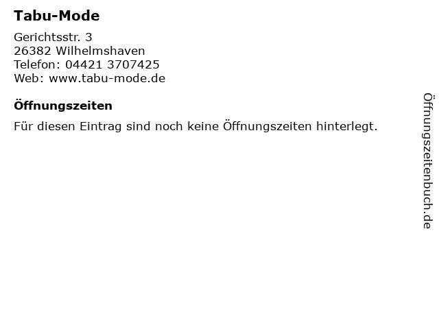 Tabu-Mode in Wilhelmshaven: Adresse und Öffnungszeiten