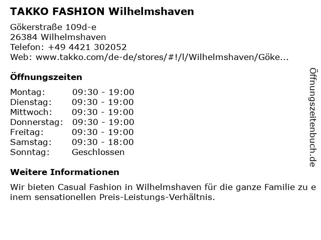 Takko Fashion in Wilhelmshaven: Adresse und Öffnungszeiten