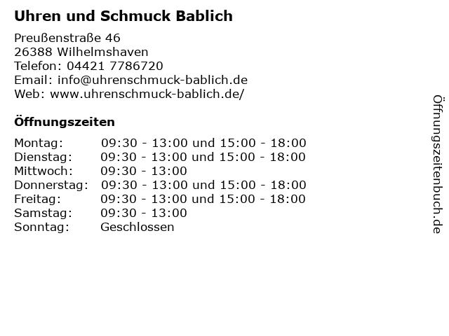 Uhren und Schmuck Bablich in Wilhelmshaven: Adresse und Öffnungszeiten