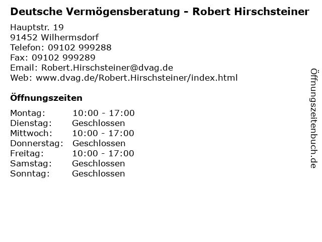 Deutsche Vermögensberatung - Robert Hirschsteiner in Wilhermsdorf: Adresse und Öffnungszeiten