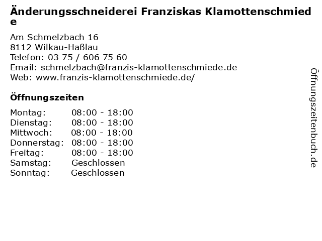 Änderungsschneiderei Franziskas Klamottenschmiede in Wilkau-Haßlau: Adresse und Öffnungszeiten