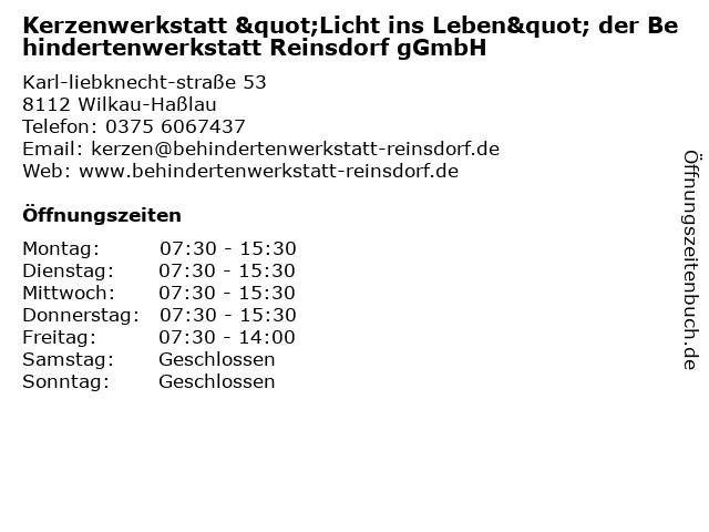 Behindertenwerkstatt Reinsdorf gGmbH in Wilkau-Haßlau: Adresse und Öffnungszeiten