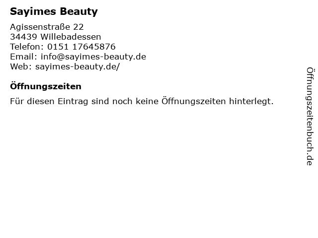 Sayimes Beauty in Willebadessen: Adresse und Öffnungszeiten