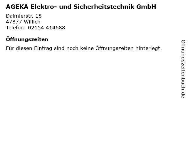 AGEKA Elektro- und Sicherheitstechnik GmbH in Willich: Adresse und Öffnungszeiten