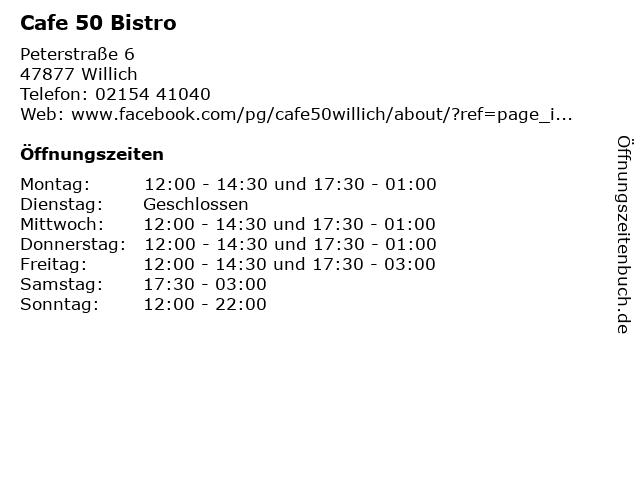 Cafe 50 Bistro in Willich: Adresse und Öffnungszeiten