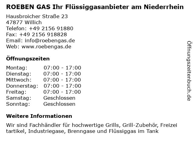 ROEBEN GAS GmbH & Co. KG in Willich: Adresse und Öffnungszeiten