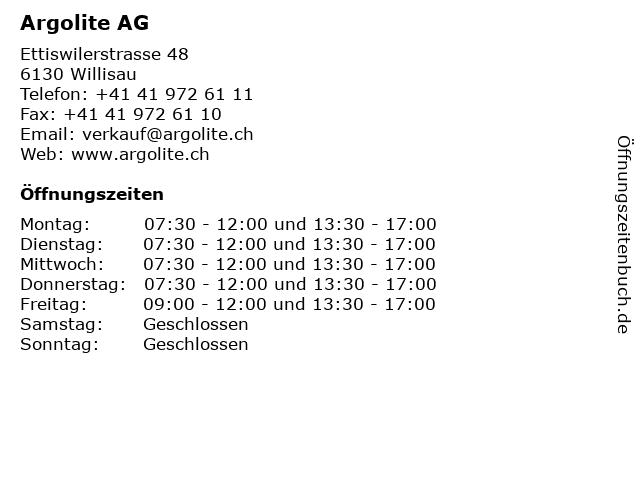 Argolite AG in Willisau: Adresse und Öffnungszeiten