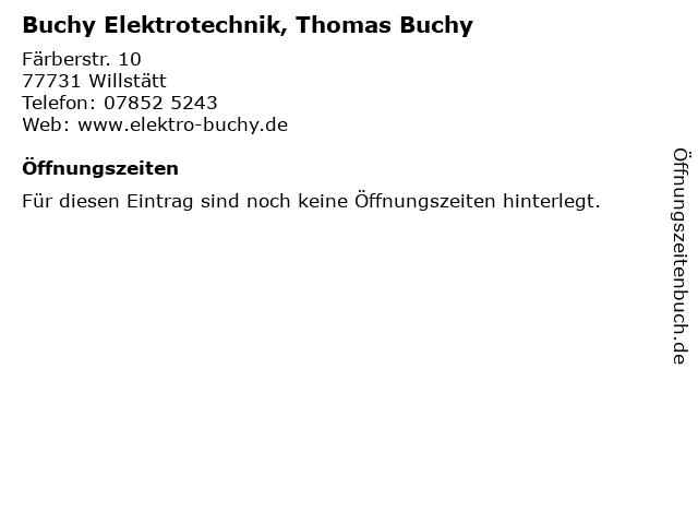 Buchy Elektrotechnik, Thomas Buchy in Willstätt: Adresse und Öffnungszeiten