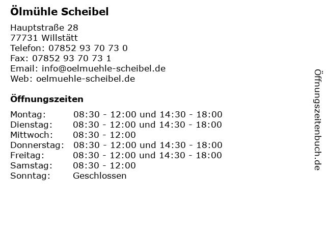 Ölmühle Scheibel in Willstätt: Adresse und Öffnungszeiten