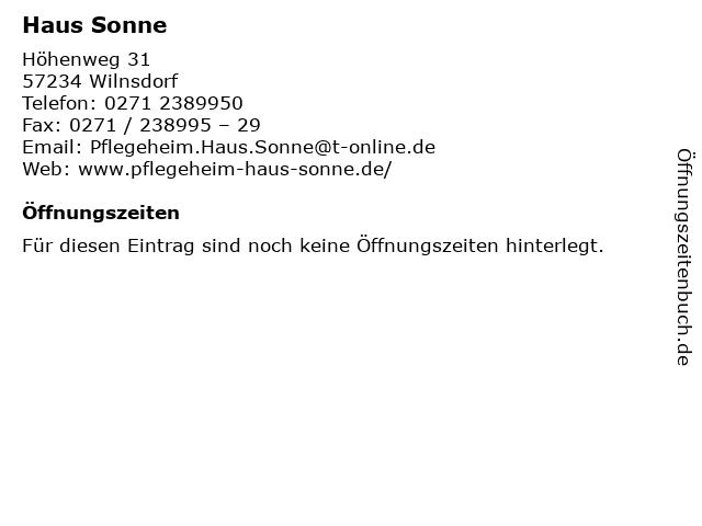 Haus Sonne in Wilnsdorf: Adresse und Öffnungszeiten