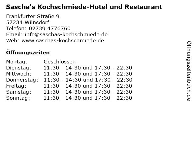 Sascha's Kochschmiede-Hotel und Restaurant in Wilnsdorf: Adresse und Öffnungszeiten