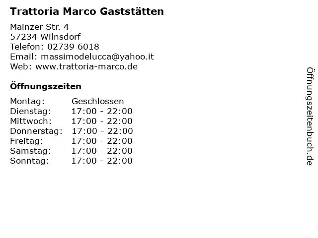 Trattoria Marco Gaststätten in Wilnsdorf: Adresse und Öffnungszeiten