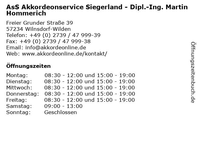 AsS Akkordeonservice Siegerland - Dipl.-Ing. Martin Hommerich in Wilnsdorf-Wilden: Adresse und Öffnungszeiten