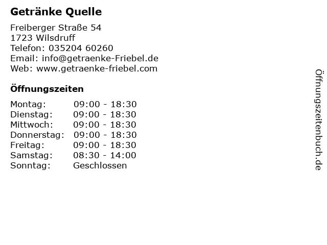 Getränke Quelle in Wilsdruff: Adresse und Öffnungszeiten